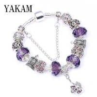 Fit Europa Original Charms Pulsera púrpura cristal cuentas de CZ rosas Pulsera corona hueca cuelga las mujeres joyería de moda DIY brazalete de regalo