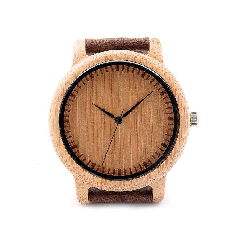 35CM Women s Watch Luxury Brand Genuine Leather Strap Analog Bamboo Wood Quartz Watch Casual Watches