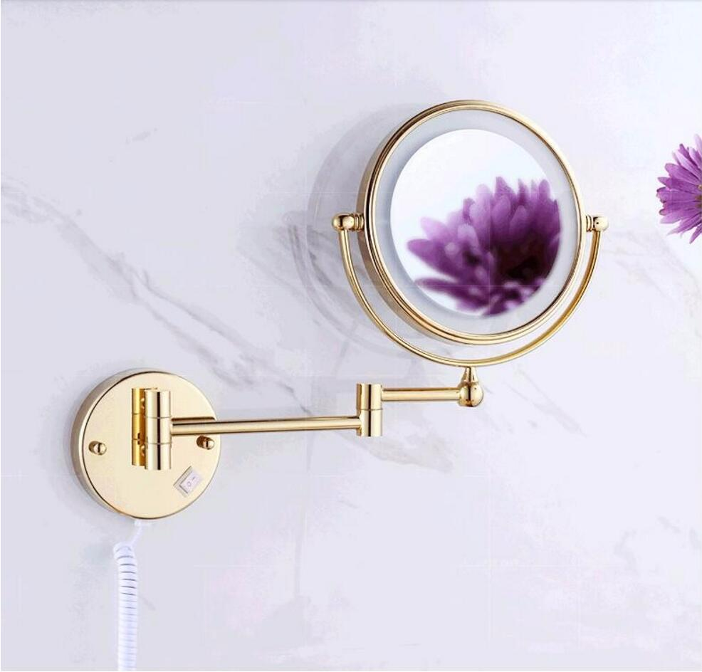 Gold Led bathroom mirror 360 retractable gold finished wall mounted Led cosmetic makeup bath mirror double faced led mirror ydl f 0538 polished nickel finish solid brass spring pull out kitchen faucet antique silvery