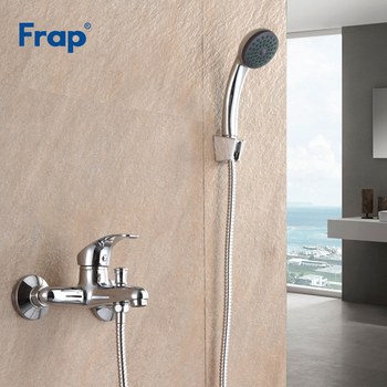 цена Frap New Arrival Bathroom Shower Faucet Bath Faucet Mixer Tap With ABS Hand Shower Head Set Wall Mounted Torneira F3013 онлайн в 2017 году