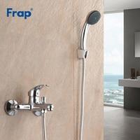 Frap nova torneira do banheiro  torneira de chuveiro do banheiro com abs conjunto de cabeça de chuveiro montado na parede torneira f3013
