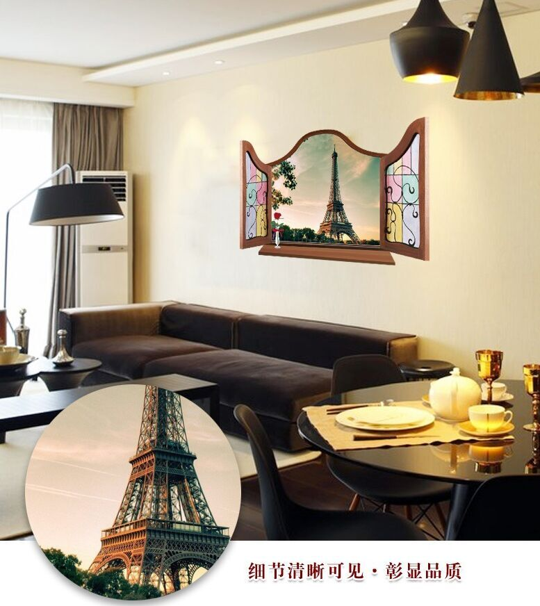 Aliexpress Buy Scenery DIY Wall Stickers 3D False window Eiffel Tower background Living Room Wedding Room Decor Mural Decal MJC from Reliable