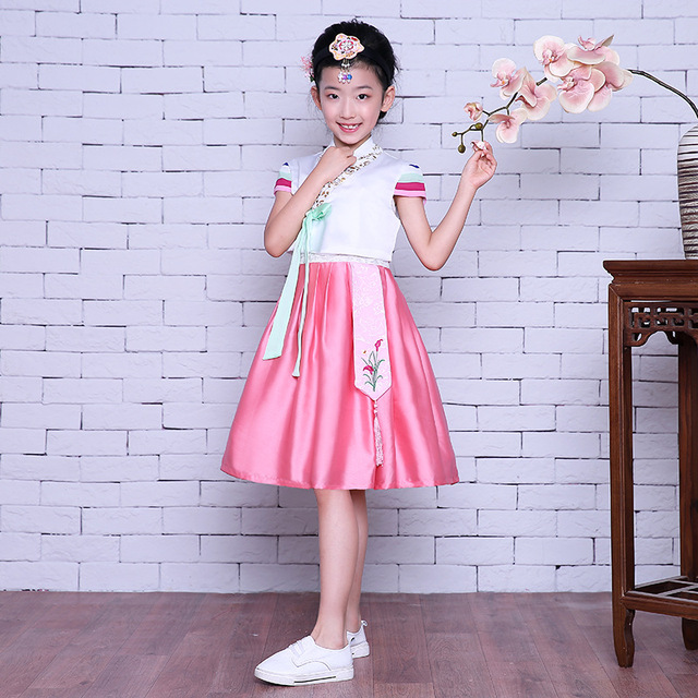 f10cd63f6 Floral Traditional Korean Clothing Improved Baby Girls Hanbok Dress Kids  Cosplay Clothes National Dance Performance Costume