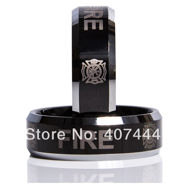 Free Shipping YGK JEWELRY New Hot Sales 8MM Black Two Tone Fireman Mens Fashion Tungsten Carbide Wedding Ring