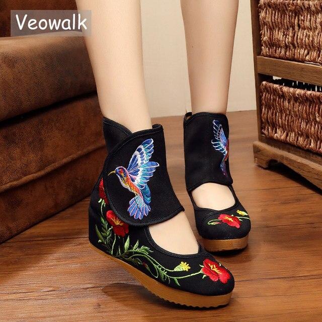Veowalk קרסול גלישת נשים מזדמנים מגפי Hummingbird סיני נובל מרי Janes בתוך מוגבר רקמת משאבות בד נעליים