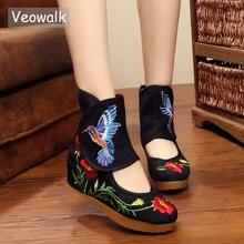 Veowalk ayak bileği Wrap kadınlar günlük çizmeler Hummingbird çin asil Mary Janes içinde artan nakış pompaları bez ayakkabı