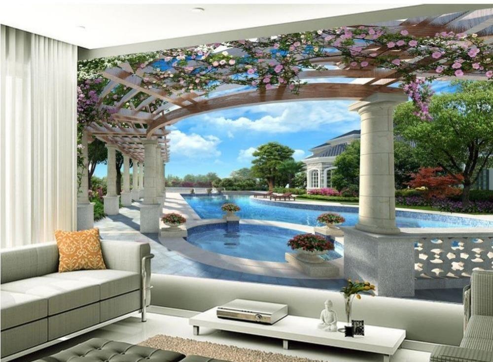 Aliexpress  Buy Wood carving lotus mural TV backdrop 3d - 3d wallpaper for living room
