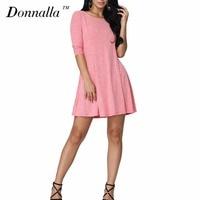 Donnalla Women Dress Elegant Ladies Half Sleeve Lace Up Knitted Dresses Vestidos Plus Size 2XL 3XL