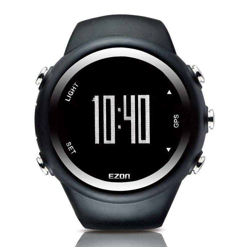 ФОТО 2017 Men Professional GPS Running Fitness Sports Watch 5ATM Waterproof  Calorie Counter Digital Clock Stop Watch EZON T031 Black