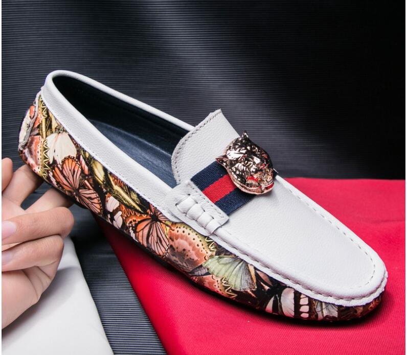 Doug Point Chaussures 2018 Luxe Nouvelle blanc Casual Pour Noir Robe Italien Toe Homme Hommes Vente Mens De Mocassins Designer A6RqYPA