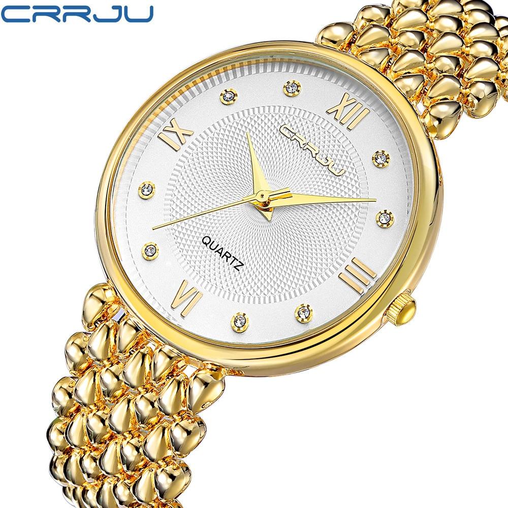 CRRJU 2017 Hot Fashion Brand Relogio Feminino Female Stainless Steel Watch Ladies Fashion Casual Watch Quartz Women Watches