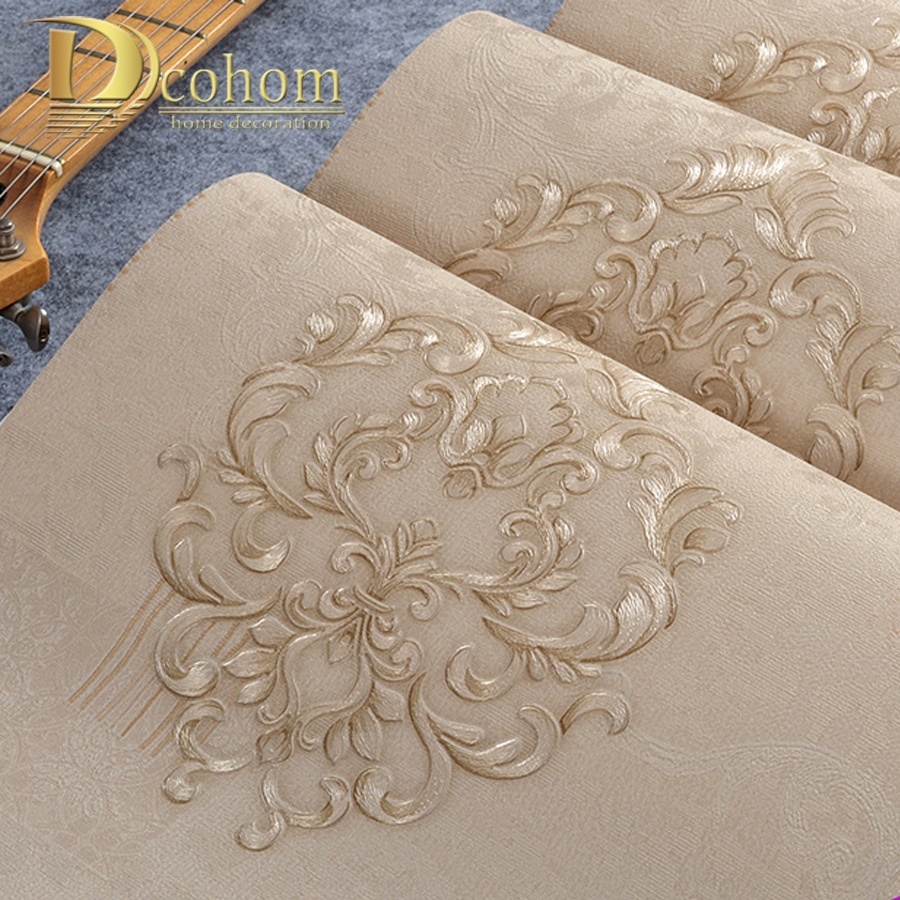 European Luxury Beige Damask 3d Wallpaper For Walls
