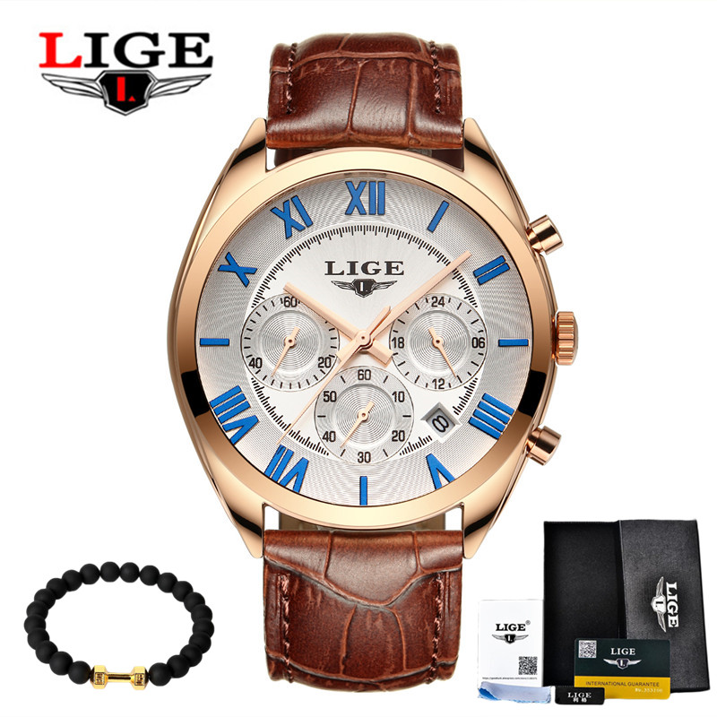 2017 LIGE Top Luxury Brand Fashion Casual Mens Leather Quartz Watch Multifunctional Watches Sport Male Clock Relogio Masculino lige fashion casual sport mens watches brand luxury male business quartz watch men wristwatch clock world time relogio masculino