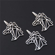 10pcs Antique Silver Unicorn Charms Horse Head Pendant For Bracelet Jewelry Making A2591(China)