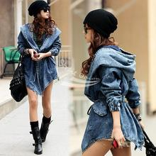 Women Clothing CCool Fashion Women Lady Wind Denim Trench Coat Hooded OuterwearJean Blue coats capas abrigos free shipping