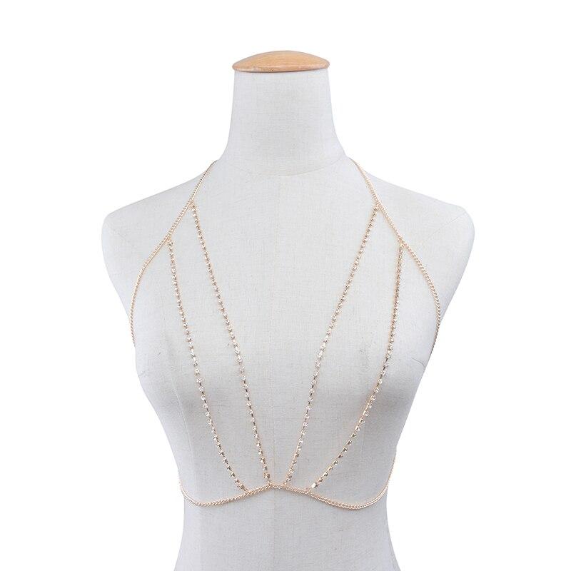 Trendy Female Crystal Necklace Bra Bikini Body Chest Chain Sexy Luxury Club/Beach/Party Chest Chain for Women Statement Jewelry
