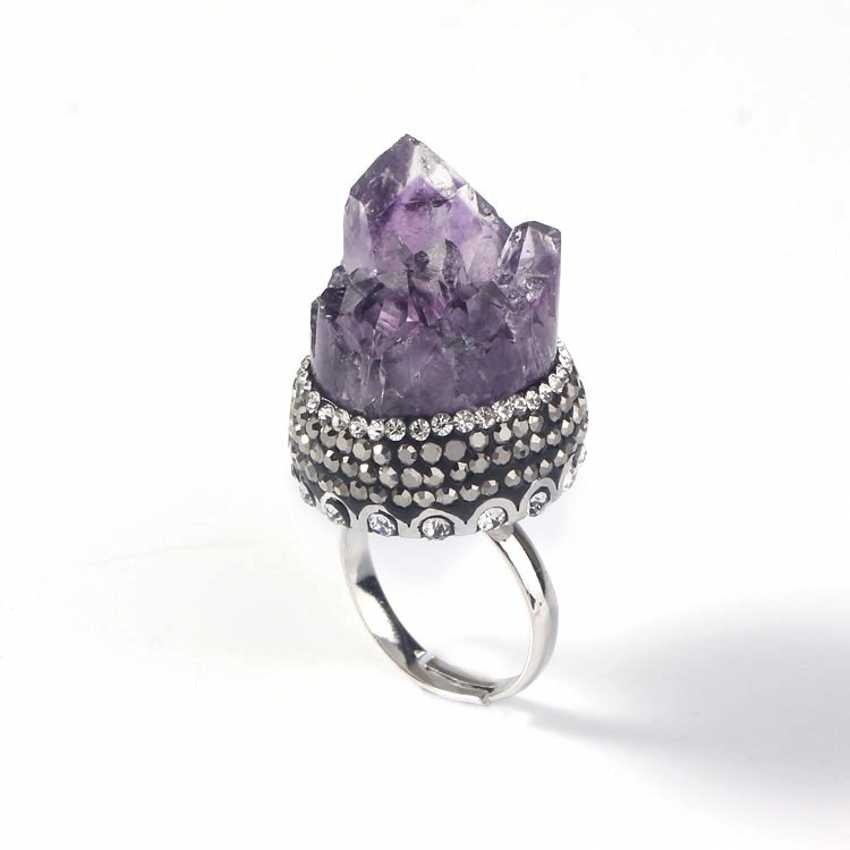 Крафт-бусины посеребренные неправильной формы натуральные пурпурные аметисты инкрустация Стразы с изменяемым размером обручальное кольцо ювелирные изделия