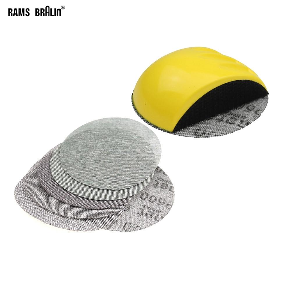 """6 + 1 pièce Disque de papier abrasif P80 - P600 pour bloc de ponçage manuel de 6 """"/ 150 mm pour réparation automobile"""