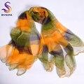 Amarillo Verde Bufanda de Seda Impresa 2016 Nuevo Accesorios de Moda Mujeres Delgadas Lades Pura Seda Del Mantón de La Bufanda Bufandas Largas Wraps Verano