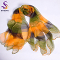 Yellow Green Silk Scarf Printed 2016 New Fashion Accessories Women Thin Long Scarves Wraps Summer Lades Pure Silk Shawl Scarf