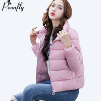 PEONFLY 6 Colors 2017 Fashion Cotton Padded Thick Warm Winter Jacket Women Long Sleeve Coat Female