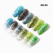 6box/set  Nail Glitter Tips Laser Gold Silver Powder Decorative Bright Fantasy Colors Super Beautiful Sequins