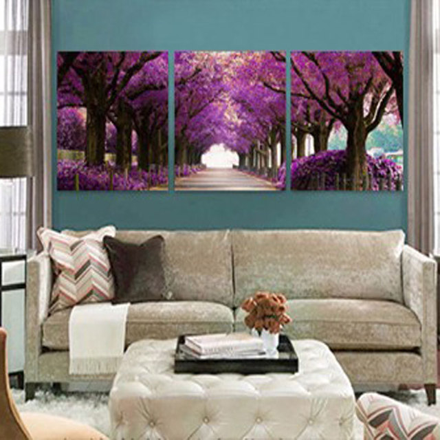 Us 8 2 3 Panel Purple Forest Trees Wall Painting Modern Home Decor Pop Art Pictures Canvas Painting Wall Art Pictures For Living Room In Painting