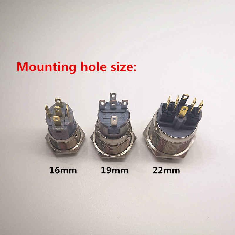 Interrupteur à LED 12v étanche métal bouton poussoir 16mm 19mm 22mm symbole personnalisé arrière dégivrage feux de route pare-brise lavage
