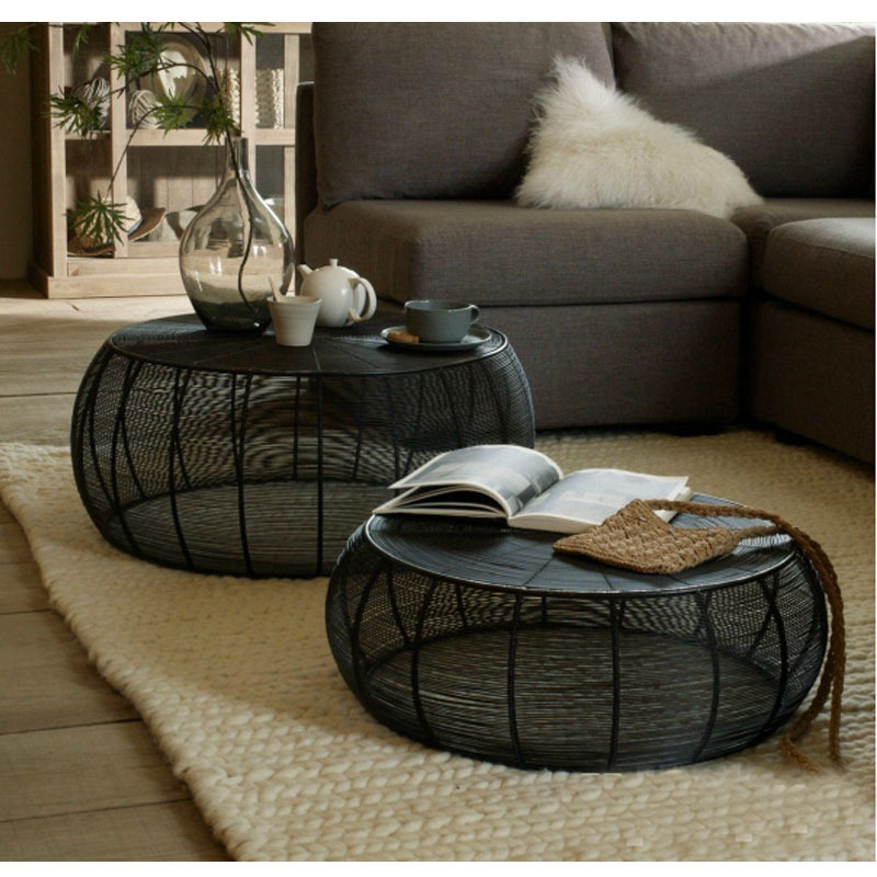 metal frame living room furniture wood and professional making hollow circular coffee table sofa side rust proof