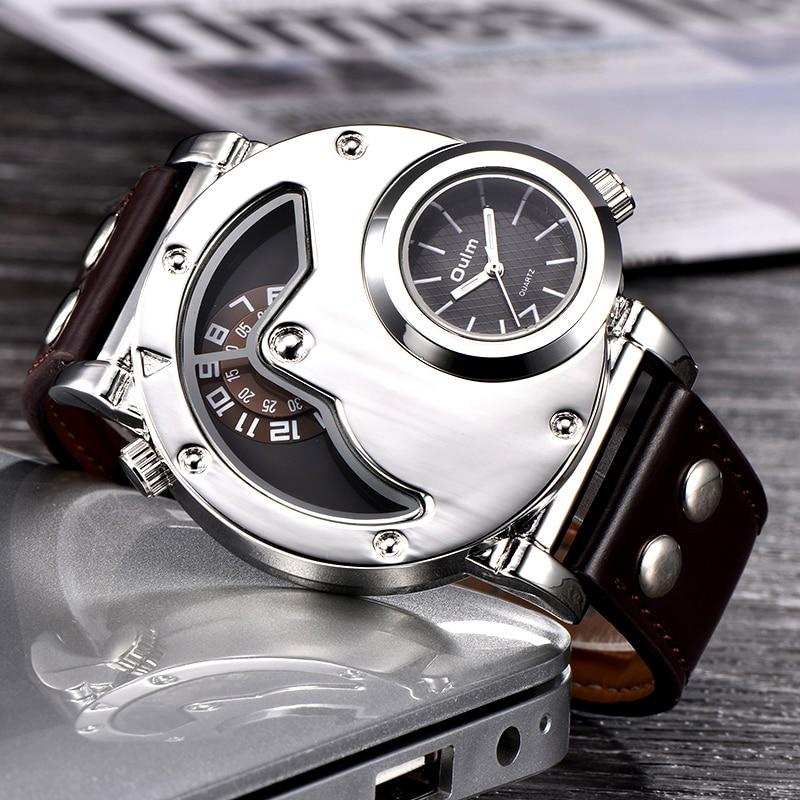 02 Montres Design Unique Multipe Fuseau  Bracelet En Cuir
