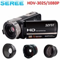 "Seree HDV-302S 1080P Digital Video Camera With 0.45X Wide Angle Len 3.0"" LCD Screen 16X Digital Zoom MIni Camera Video Camcorder"