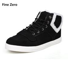 Fine Zero Male brown black grey Winter Fur Plush Warm High Top Shoes Men Autumn Casual Ankle Boot Man Winter Super Warm Botas