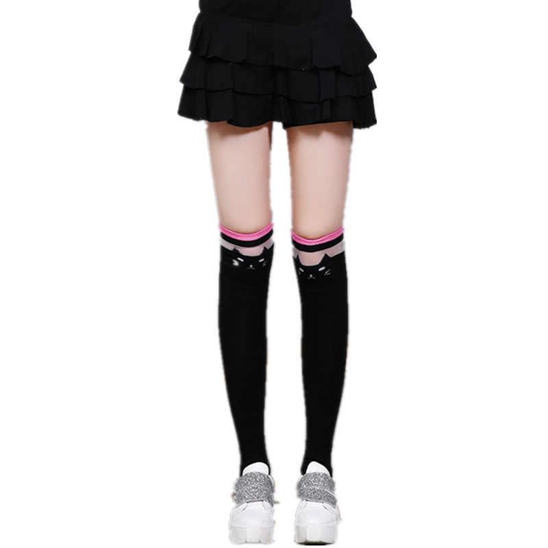 db5713fb16397 Cute Lace Cat Girl's Over Knee Socks Cotton Women's Socks Long Kawaii Sexy  Slim Compression Stocking