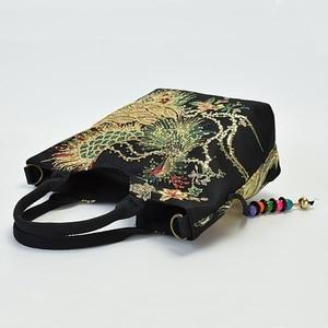 Image 5 - Bolso de mano étnico bordado para mujer, bandolera, bolso grande de hombro Vintage, de lona