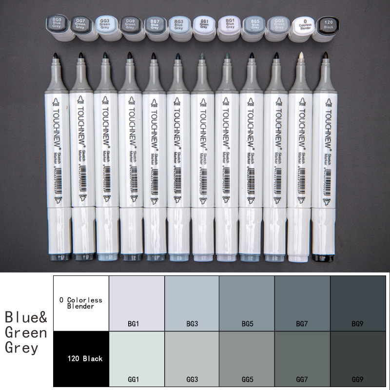 TOUCHNEW 12/30Color Cool Grey Marker Pen Dual Head Grayscale Alcohol Art Marker For Artist Design Set Manga Pen Art Supplier dainayw 12 cool grey colors marker pen grayscale dual head art markers set for manga design drawing school student supplies