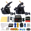 Complete Tattoo Kits 2 Pro Coil Tattoo Machine Guns Power Supply 20 Needles Grip Tip Needle Taty Set tk202-1