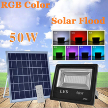 6PCS 50W 100W LED Solar Flood Light RGB Colorful Outdoor Floodlights Garden Wall Powered Remote Controller