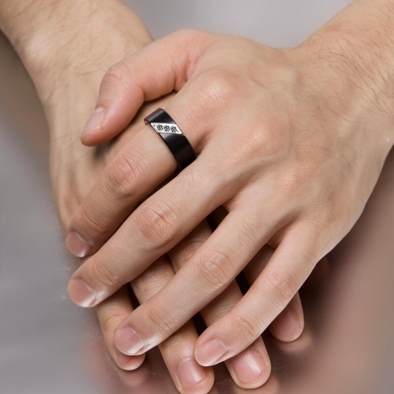 Nouveauté bagues de mariage en tungstène brossé noir 8mm pour hommes avec trois zircons cubiques Septem bagues de naissance taille 7 à 10 - 6