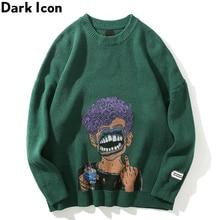 Noir icône impression déchiré hommes pull col rond surdimensionné chandails pour hommes Streetwear vêtements
