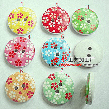 Sewing buttons Mixed coloured drawing pattern DIY handmade Round wooden button diameter 15 mm