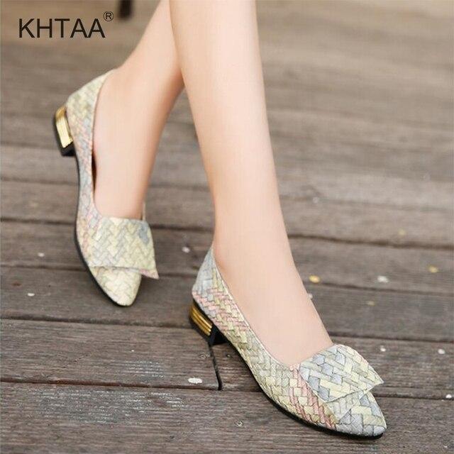 אביב נשים לארוג משאבות עבה נמוך עקבים מחודדת הבוהן רדוד נעלי משרד גבירותיי להחליק על מקרית נעלי נקבה אופנה 2019
