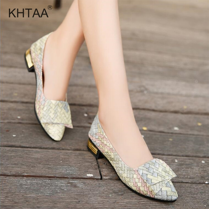 Spring Women Weave Pumps Thick Low Heels Pointed Toe Shallow Office Shoes Ladies Slip On Casual Foot