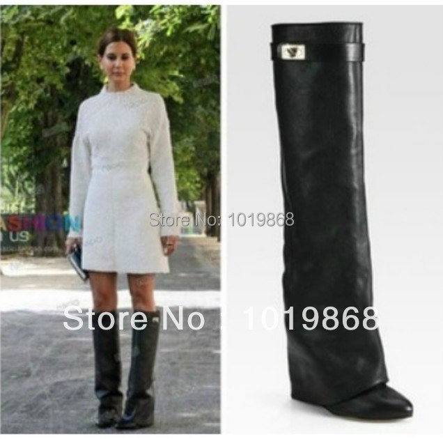 Leather women's knee high heel winter boots folder over wedge boot black red tan boots for women