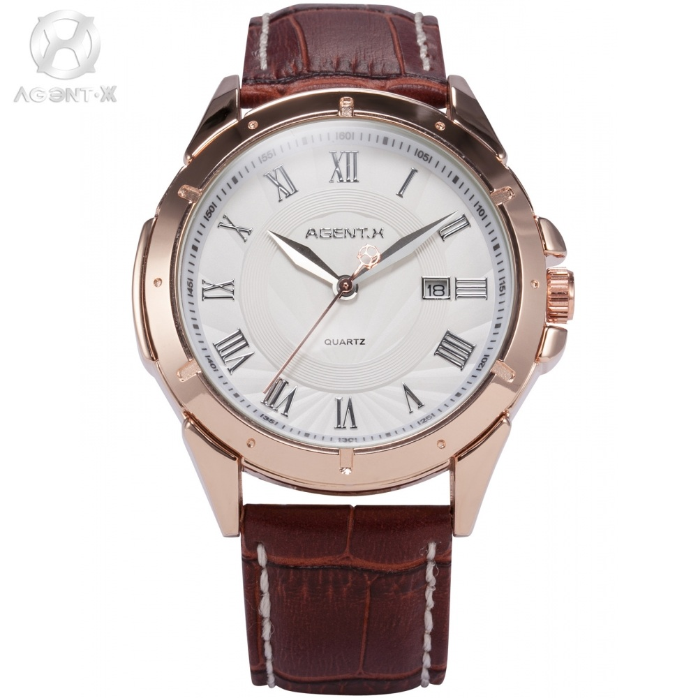 AGENTX Brand Auto Day Display Rose Gold Stainless Steel Case Tag Heuerwatch Wristwatch Men Business Quartz Men Watch / AGX042 agentx brand auto day display rose gold stainless steel case tag heuerwatch wristwatch men business quartz men watch agx042