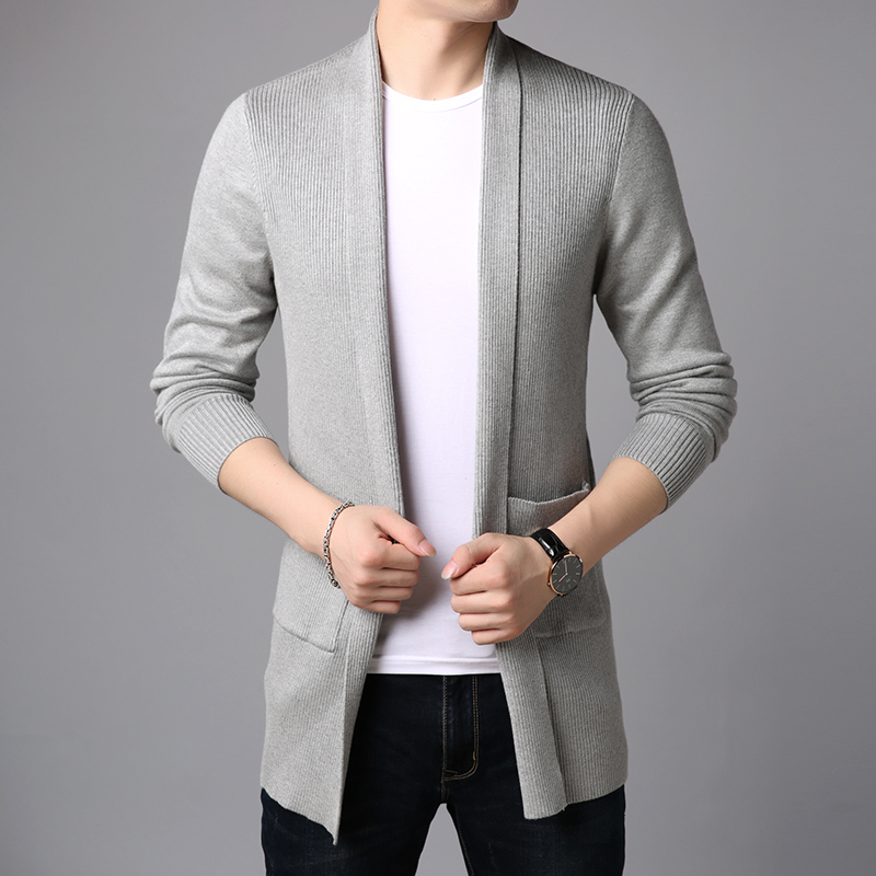 2019 New Fashion Brand Sweater For Mens Cardigan Long Slim Fit Jumpers Knitred Overcoat Autumn Korean Style Casual Men Clothes