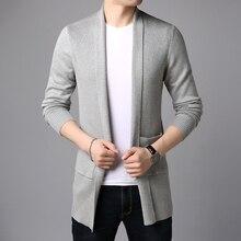 2020 新ファッションブランドセーターカーディガンロングスリムフィットジャンパーknitredオーバーコート秋韓国スタイルカジュアル男性服