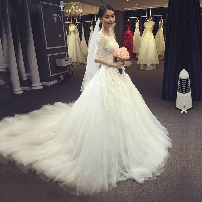 Vintage Three Quarter Length Wedding Dresses: Vestido De Casamento 2016 Fluffy Chapel Three Quarter