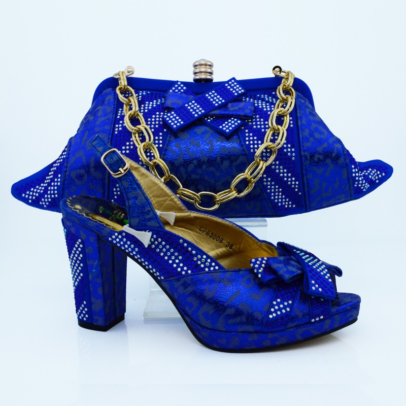 ФОТО 2016  New Fashion Women Pumps Shoes and Matching Bags Set Italy Style High Heels Shoes And Bag For Party Royal Blue CP63008