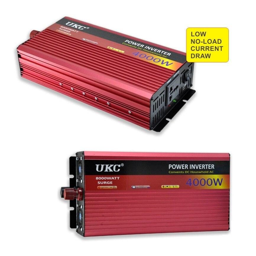 UKC 2500 W 3000 W 4000 W Auto Power Inverter Konverter DC 12 V Zu AC 220 V 50 HZ volle Schutz AC Power Inverter USB Ladegerät Adapter