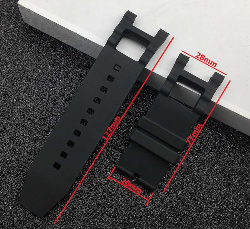 Top quality 28mm Black watchband Waterproof Rubber for Subaqua Watch Band Belt For Invicta strap Noma III Noma 3 - 18520 19828